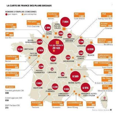 LA CARTE DE FRANCE DES PLANS SOCIAUX: UNE CATASTROPHE ! dans REFLEXIONS PERSONNELLES PLANS-SOCIAUX