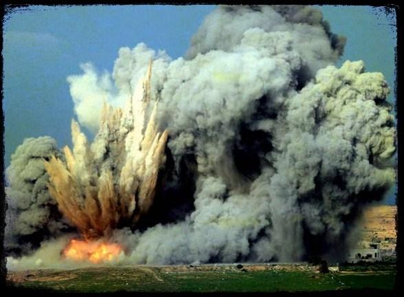 Explosion avec des armes à l'uranium appauvri