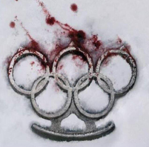 Les anneaux olympiques ensanglantés par KIEV
