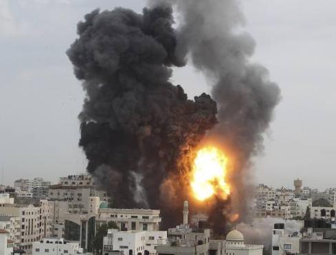 Photo explosion armes à l'URANIUM APPAUVRI d'Israël à Gaza