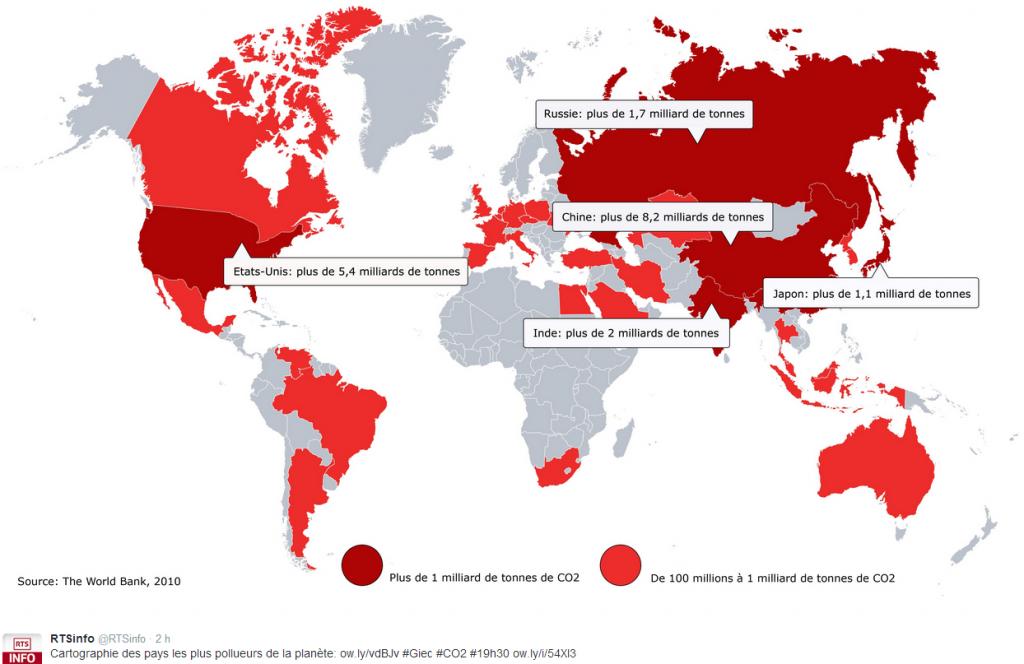 Cartographie des pays les plus pollueurs de la planète