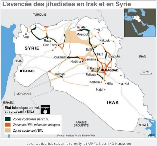 L'avancée des djihadistes en IRAK et en SYRIE Document AFP