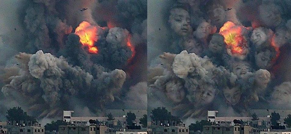 Armes UA et montage photo avec enfants dans les poussières Photo de Bushra SHANAN