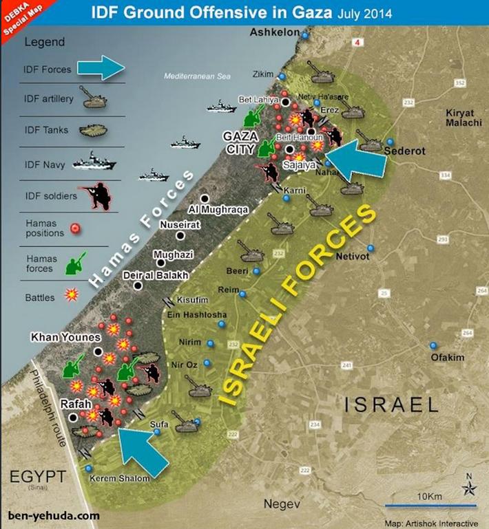 Carte des forces en présence ISRAËL GAZA
