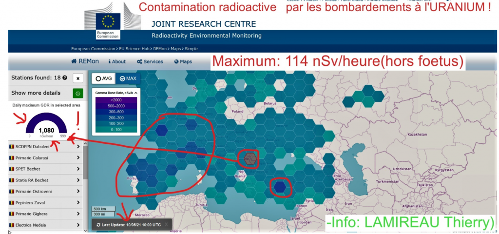 Contamination radioactive sur l'EUROPE le 10 mai 2021