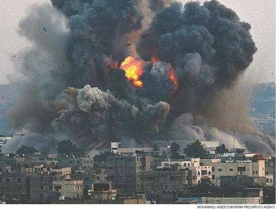 Explosion armes à  UA sur GAZA