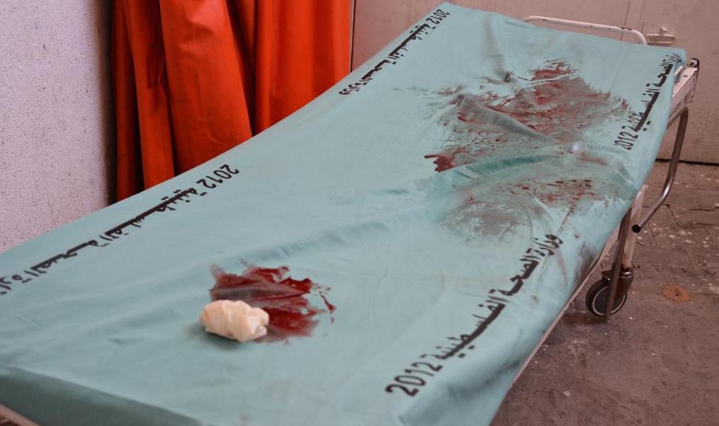 GAZA Chariot médical plein de sang
