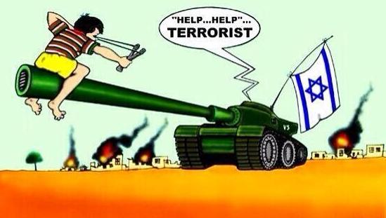 Le terroriste et le char israélien