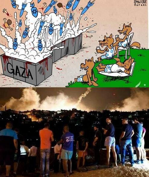 Les bombes sur GAZA Un SPECTACLE
