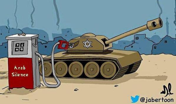 Les chars de ISRAËL prennent le pétrole des Arabes Dessin