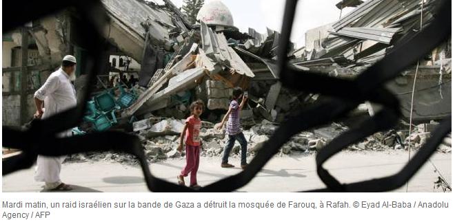 Mosquée de Farouq à RAFAH détruite par l'armée israélienne à l'UA