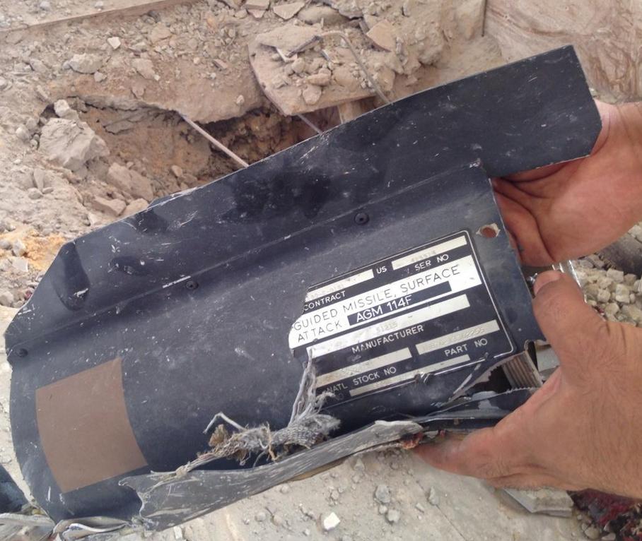 Références d'un missile israélien retrouvé sur GAZA Guided Missile Surface Attack AGM 114F