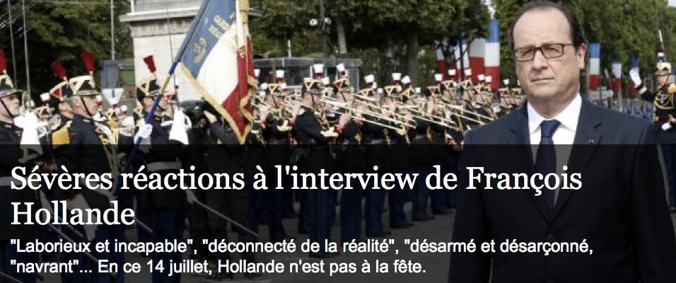 Sévères réactions à l'interview de HOLLANDE du 14 juillet 2014