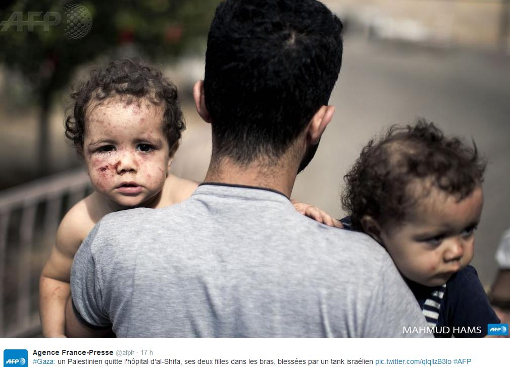 Un père et ses enfants blessés à GAZA