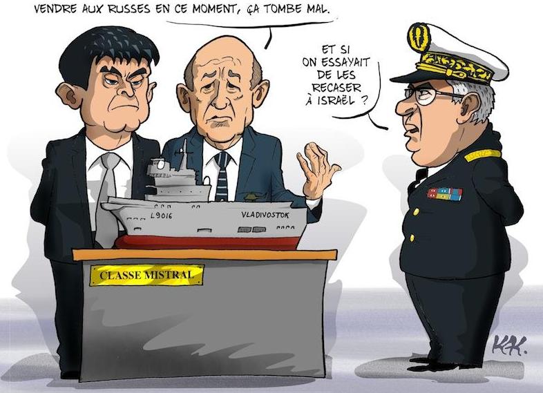Les contrats militaires VALLS LE DRIAN et bateau russe DESSIN humoristique