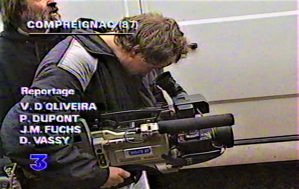 LAMIREAU Thierry à la caméra tournage film URANIUM EN LIMOUSIN 1992