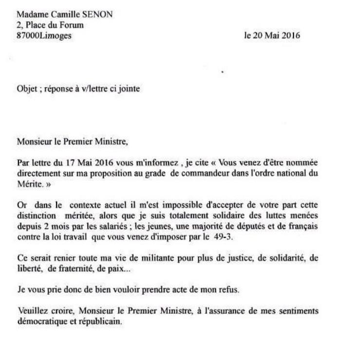 Lettre de Madame Camille SENON d'ORADOUR à Manuel VALLS