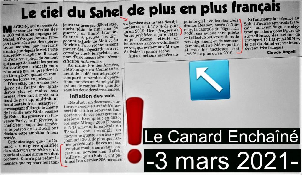 Le ciel du SAHEL de plus en plus français Canard Enchaîné du 3 mars 2021_LI
