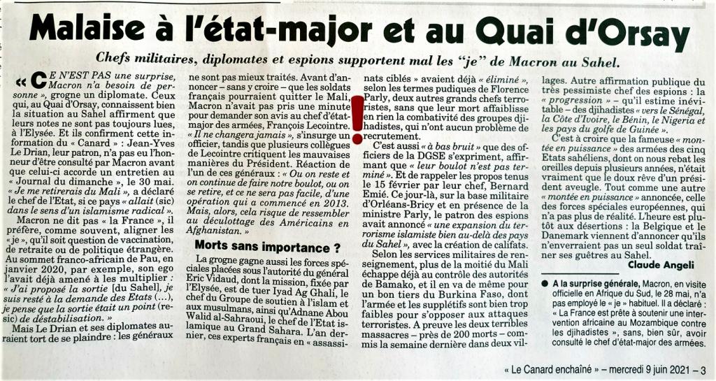 MACRON SAHEL Malaise à l'État Major et au Quai d'Orsay 9 juin 2021