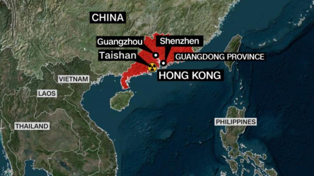 Centrale nucléaire de TAISHAN près de HONG KONG carte