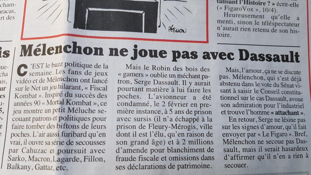 DASSAULT MELENCHON Canard Enchaîné