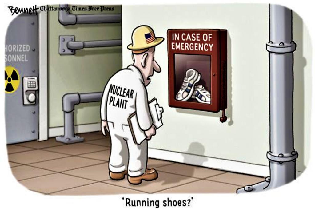 DESSIN en cas d'urgence nucléaire les chaussures pour courir