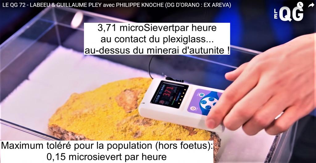 émission avec KNOCHE 3,71 microSievert par heure en contact sur plexiglass