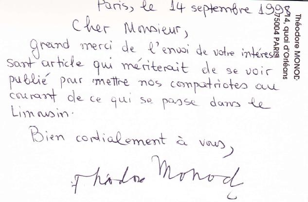 Mot de Théodore MONOD à Thierry LAMIREAU