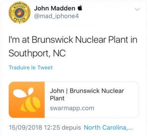 Policier plan nucléaire Caroline du Nord
