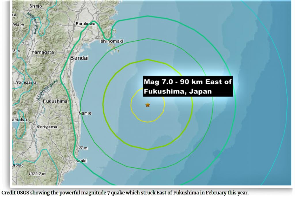 Séisme en février 2021 près de FUKUSHIMA