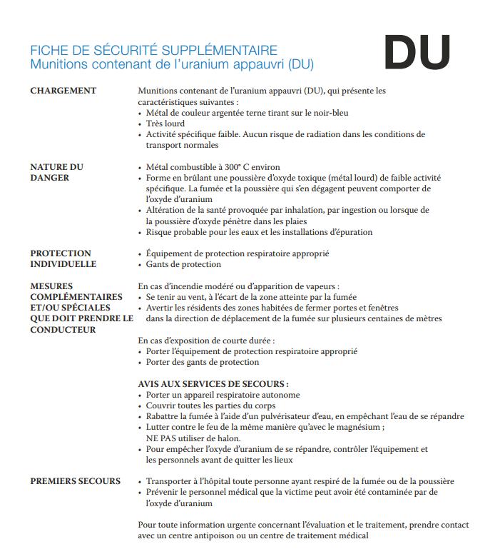 Munitions UA fiche de sécurité OSCE
