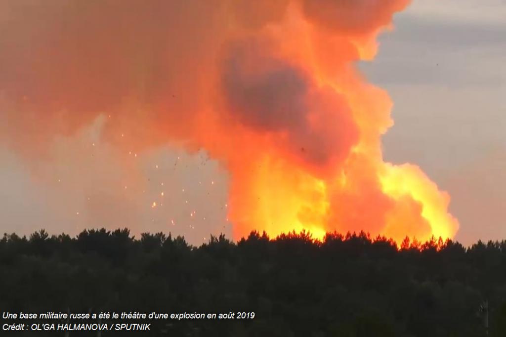 Explosions en feu site armes UA russes août 2019