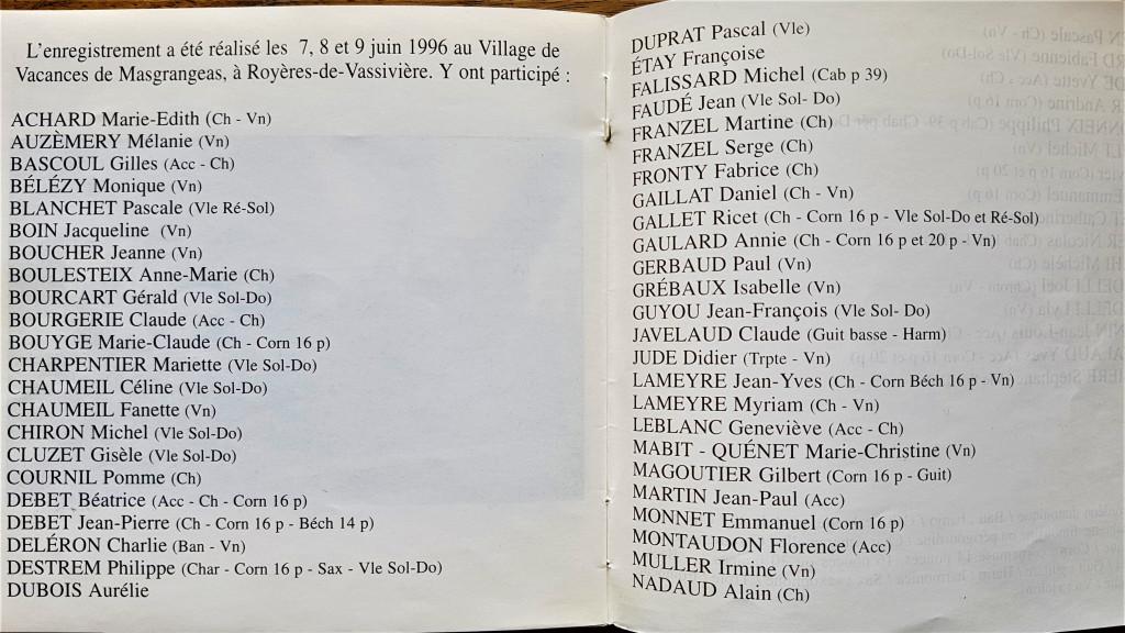 Début liste musiciens MARION QUAND TAIMAVA