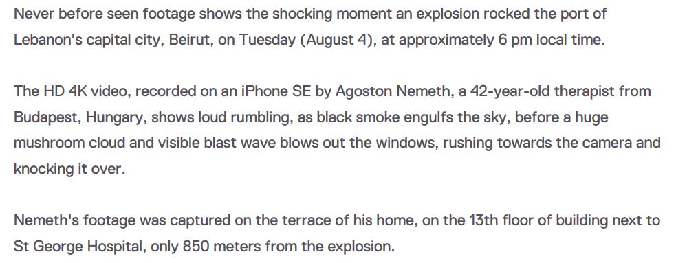 Explosions BEYROUTH 14 Auteur de la vidéo et situation