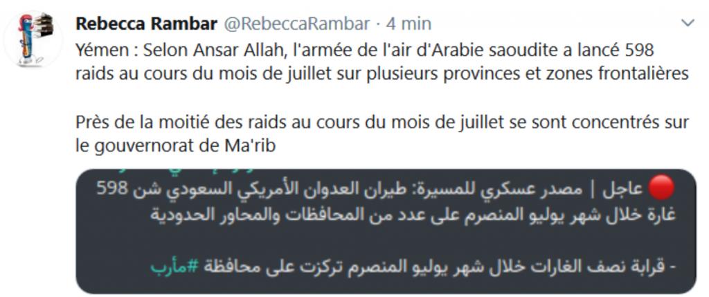 Juillet 2020 598 raids à UA de l'ARABIE SAIOUDITE sur le YEMEN