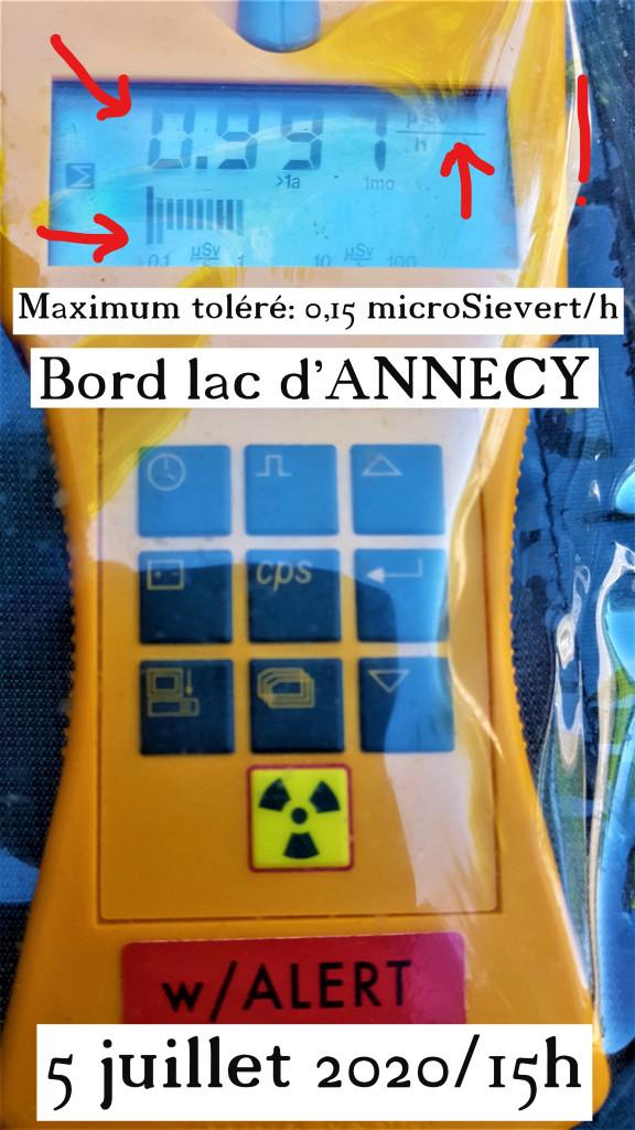 Radioactivité bord lac d'ANNECY 5 juillet 2020