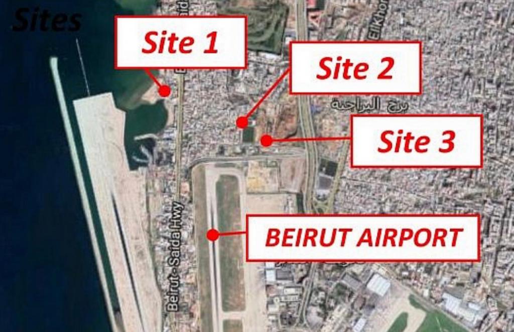 Situation des différents sites sur le port de BEYROUTH