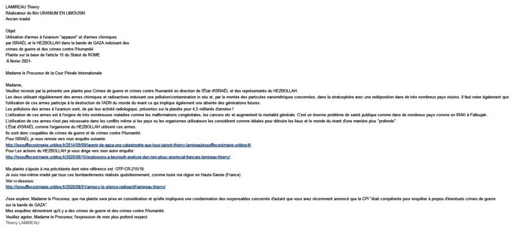copie d'écran plainte LAMIREAU Thierry CPI CRIMES DE GUERRE ET CONTRE L'HUMANITE Bande de GAZA 6 février 2021png